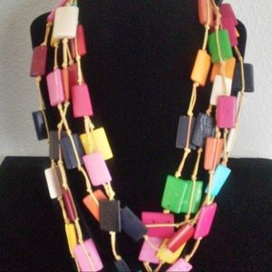 Accessories - Multi-Color Square Bone Necklace with Earrings